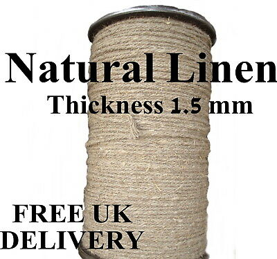 Linen Flax Rope Line Tie Hemp Natural Craft Twisted Twine Braided Cord 1.5mm