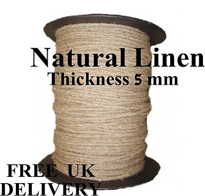 Linen Flax Rope Line Tie Hemp Natural Craft Twisted Twine Braided Cord 5mm