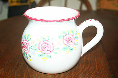 "Deruta Italy Pottery Pitcher, Kate Williams - 6"" High - White w/ Red Roses"