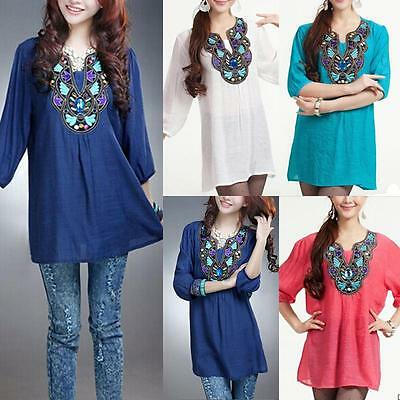 Women's Casual Vintage Gypsy Ethnic Floral Embroidered Hippie Blouse DRESS Tops