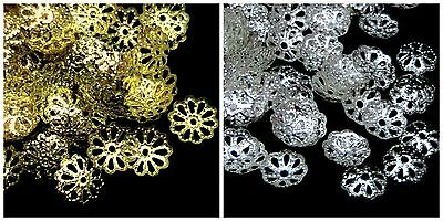 8mm Filigree Style Bead Caps Jewellery Findings Craft Gold & Silver Plated ML