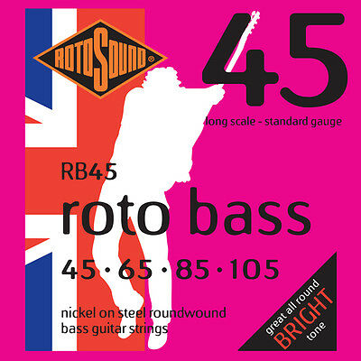 Rotosound RB45 Nickel Electric Bass Strings Long Scale Standard Gauge