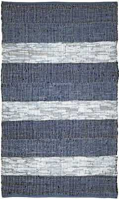 Matador Collection Striped Leather Chindi Rug, Blue Stripes. 8 Sizes LCD25