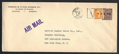 CANADA 1941 WAR TIME COVER VICTORY CANCEL CALGARY TO NY