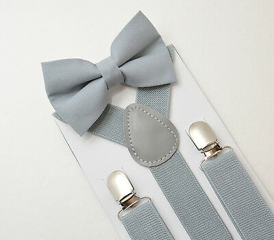 Kids Boys Baby Light Gray Suspenders & Gray Cotton bow tie SET 8months-5Years