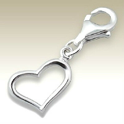 925 Sterling Silver -   'Love Heart' (Small) - Clip On Charm fits link bracelet