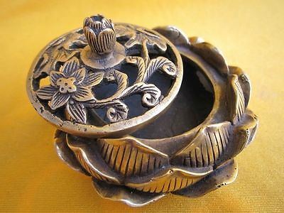 Excellent Chinese Brass lotus flower Incense Burner Censer