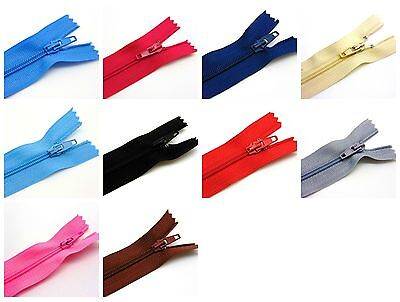 "10Pcs Nylon Zips Sewing Crafts Close End Auto Lock COLOUR CHOICE  6"" 8"" 10""  ML"