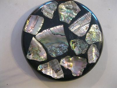 """7""""  LUCITE COLORFUL ABALONE MID CENTURY TRIVET HOT PLATE COASTER ~ Beautiful"""
