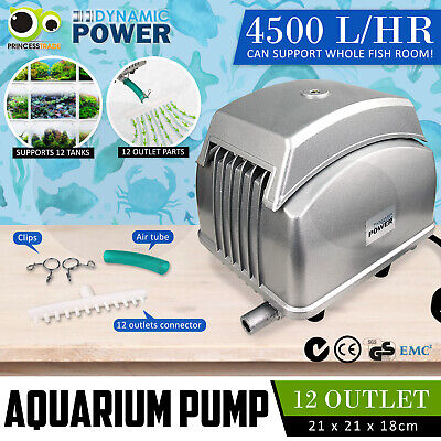 Aqua Aquarium Air Pump Oxygen Fountain Pond Marine Water Fish Tank 10 Outlet