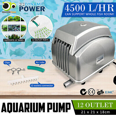 Aqua Aquarium Air Pump Oxygen Pond Septic Blower Fish Room Tank 10 Outlets