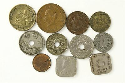 Vintage Foreign Currency Coin Lot Ceylon France Spain China Helvetia Pakistan