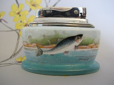 VINTAGE unused MINTON RONSON LIGHTER.  FISH TROUT / SALMON signed A.Holland