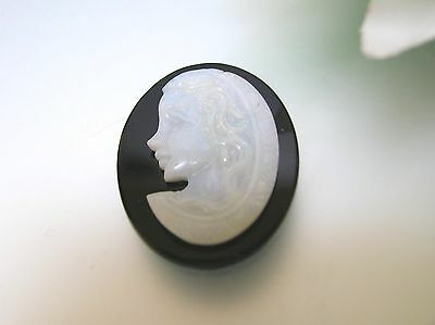 Antique nature Australian Opal lady cameo Onyx base handcrafted excellent fire