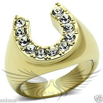 Men's Horseshoe Gold Plated Top Graded Crystal Lucky Ring 8 9 10 11 12 13 TK717