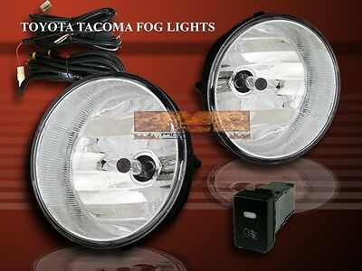 2005-2010 TOYOTA TACOMA 04-06 SOLARA STYLE CLEAR BUMPER FOG LIGHTS+SWITCH+WIRE