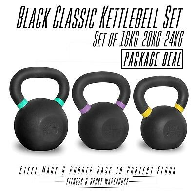16 20 24Kg Pack KettleBells Russian Classic Steel Kettle Bell Weights Training