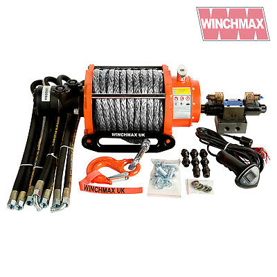 HYDRAULIC WINCH 20000 lb WINCHMAX ORIGINAL ORANGE WINCH WITH SYNTHETIC ROPE