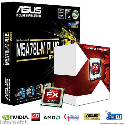 Amd Fx4300 Quad Cpu Asus M5A78L-M Plus Usb3 Motherboard Gaming Upgrade Bundle