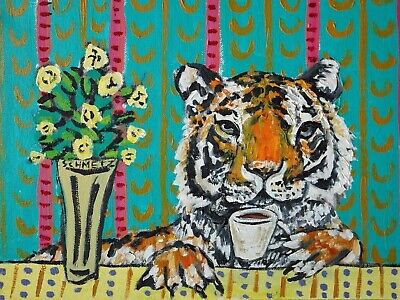 tiger coffee signed art print animals gift new abstract color 13x19 modern gift