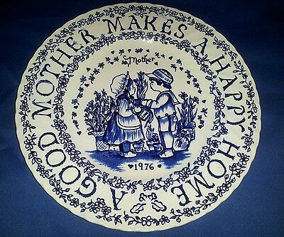 Royal Croconford Mothers plate by Norma Sherman Staffordshire England Blue