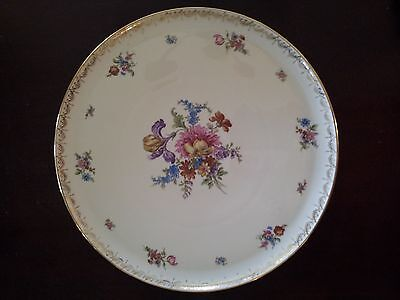 Bavaria Tirschenreuth 13.5 inches Platter / Charger Germany, Pasco,Flowers Gold
