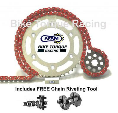 Ducati 696 Monster 08-12 AFAM Red Chain & Sprocket Kit + Rivet Tool