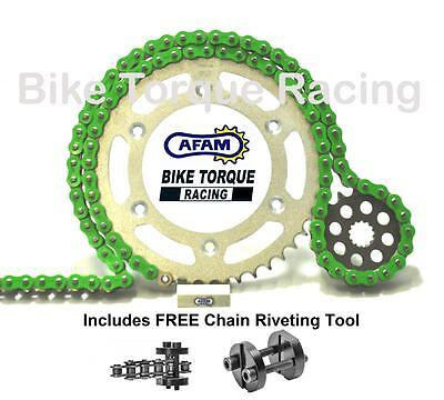 Kawasaki ZX6R F 1995-1997 AFAM Green Chain & Sprocket Kit + Rivet Tool