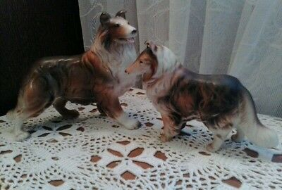 VINTAGE COLLIE MOM AND BABY STANDING FIGURINES JAPAN