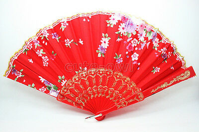 Chinese Folding Floral Pattern Silk Hand Plastic Pocket Fan-Red