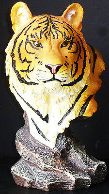 ZECHARIAH   Orange Tiger Bust   Statue Figurine  H9""