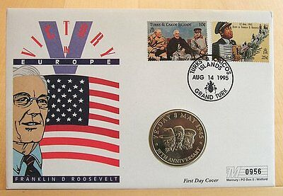 Coin First Day Cover -VE Day 50th Anniversary 1995 5Crowns Turks & Caicos Cover