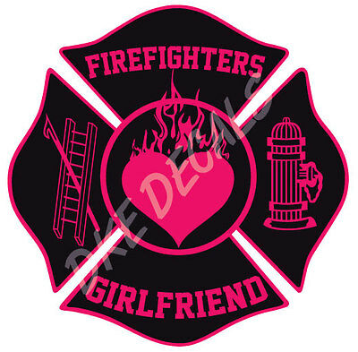 "Firefighter Stickers - Fire Girlfriend 4"" Maltese Sticker Maltese Decal"
