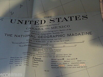 National Geographic Society Map 1933 United States & Canada vintage