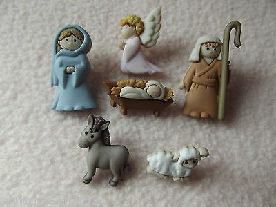 Dress It Up Buttons ~ Christmas Collection ~ Nativity ~ Mary, Joseph, Jesus +