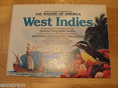 National Geographic Society Map 1987 West Indies Making of America series