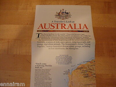 National Geographic Society Map 1988 Australia Bicentennial Continental Odyssey