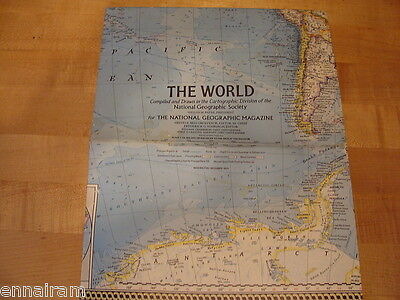 National Geographic Society Map 1970 World Map & How Man Pollutes His World