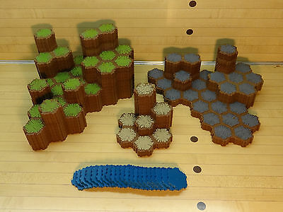Heroscape Terrain Lot - 359 Hexes - Grass Rock Sand Water - Expanded Battlefield