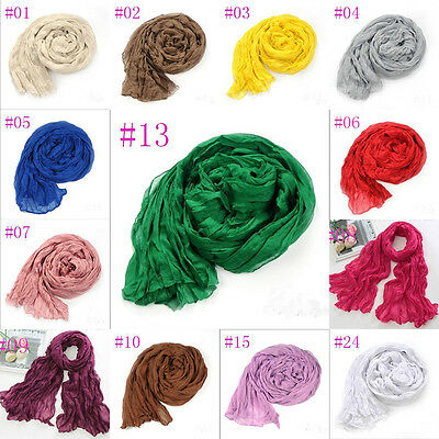 New Women Long Big Crinkle Voile Soft Scarf Wrap Shawl Stole Pure Candy 24 Color