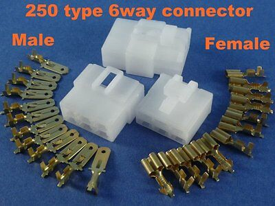 6 Pins Electrical Wire Connector Terminal Harness Plug Socket ATV 1kit #250