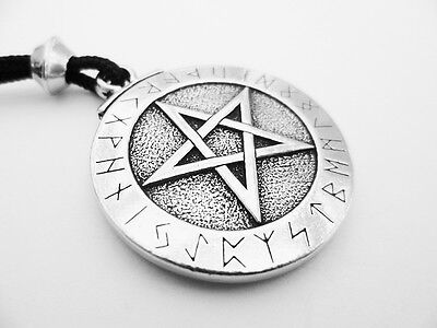 The Runic Pentacle  Pewter Pendant, Defense, Protection