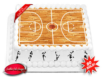 Basketball Court Edible Cake Image Birthday Party Personalised Decoration Topper