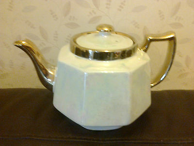 VINTAGE H J WOOD BURSLEM TEAPOT GOLD WITH BEIGE LUSTRE BODY NO CHIPS OR CRACKS
