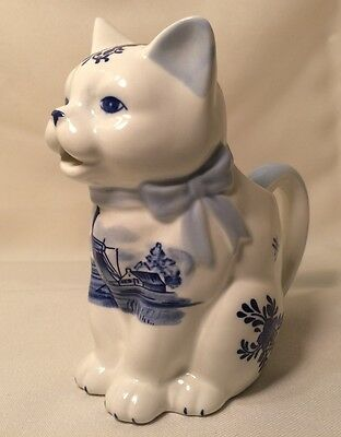 Delft Blue Hand Painted Cat Creamer - Holland - tail is the handle