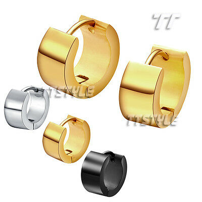 TT 7mm Width THICK Stainless Steel Large Hoop Earrings Size 13-20mm A Pair EH01