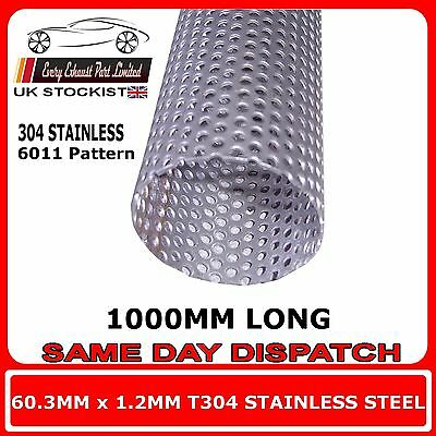 """60mm 2.375"""" x 40"""" (1000mm) Exhaust Repair Pipe Perforated Tube Stainless T304"""