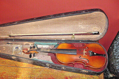 "Old Violin Smaller 13"" Body 3/4 Size Czechslovokia Early 20Th C  Bow And Case"