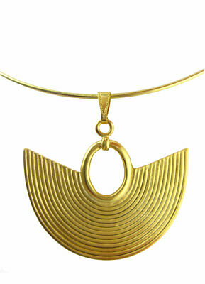 ACROSS THE PUDDLE Omega Necklace with a Pre-Columbian Sinu Striped Nose Ring