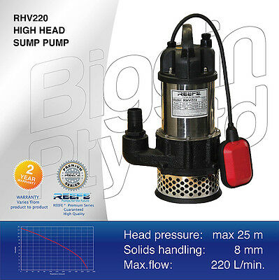 REEFE RHV220 HIGH HEAD SUMP PUMP / Submersible / Grey and Waste Water Industrial